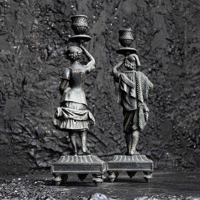 19th Century Spelter Figural Candle Sticks For Sale 4