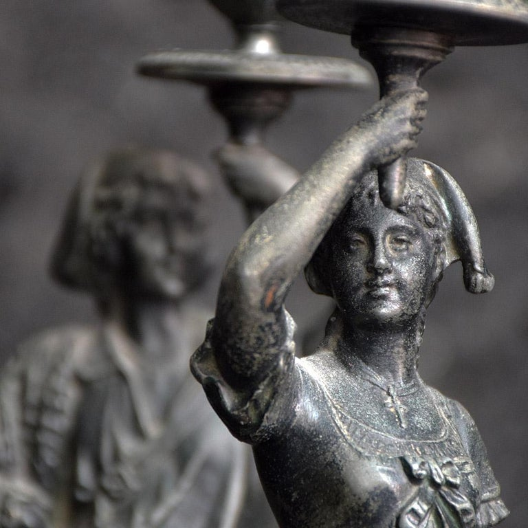 19th century spelter figural candle sticks