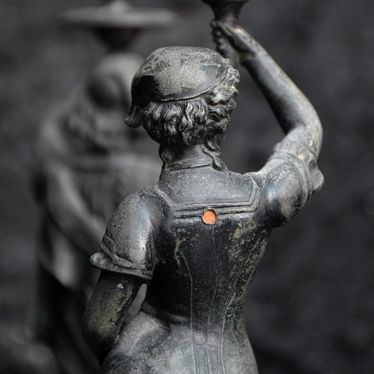 French 19th Century Spelter Figural Candle Sticks For Sale