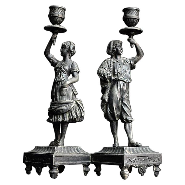 19th Century Spelter Figural Candle Sticks For Sale