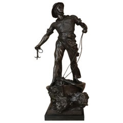 19th Century Spelter Statue of Fisherman by sculptor Waagen '1869-1910'
