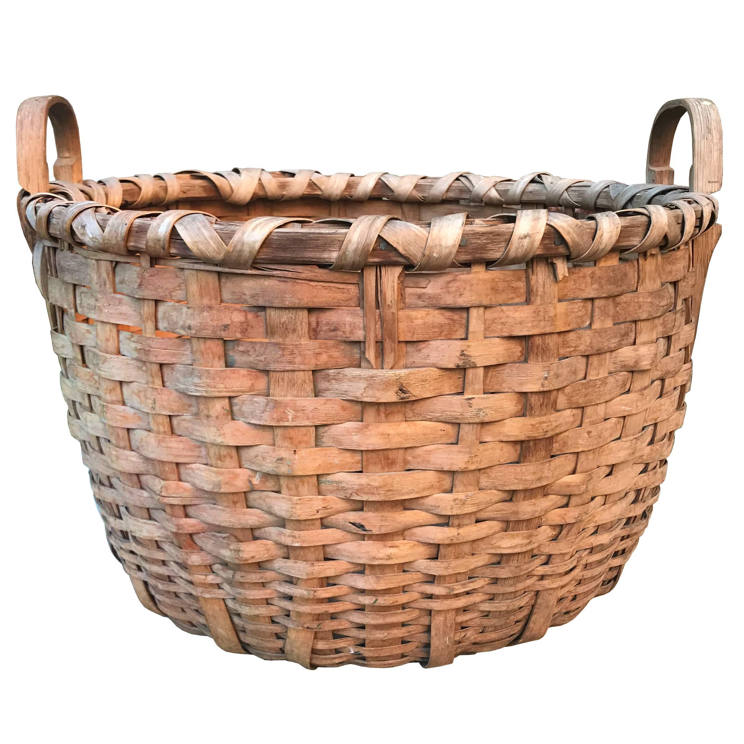 19th Century Splint Oak Bushel Basket