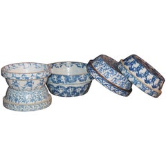 19th Century Sponge Ware Bake or Serving Pottery Bowls Five Bowls