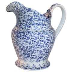 19th Century Sponge Ware Bulbous Soft Paste Pitcher