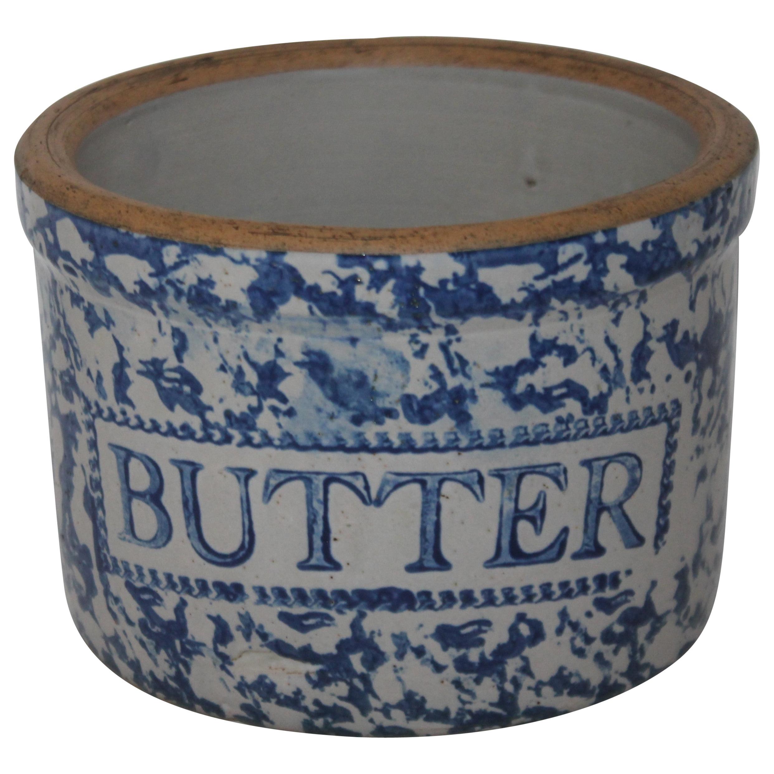 19th Century Sponge Ware Butter Crock