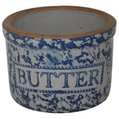 19th Century Sponge Ware Butter Crock