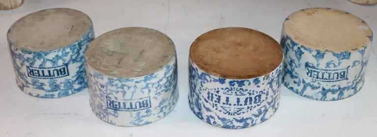 Hand-Painted 19th Century Sponge Ware Butter Crocks / Collection of Four For Sale