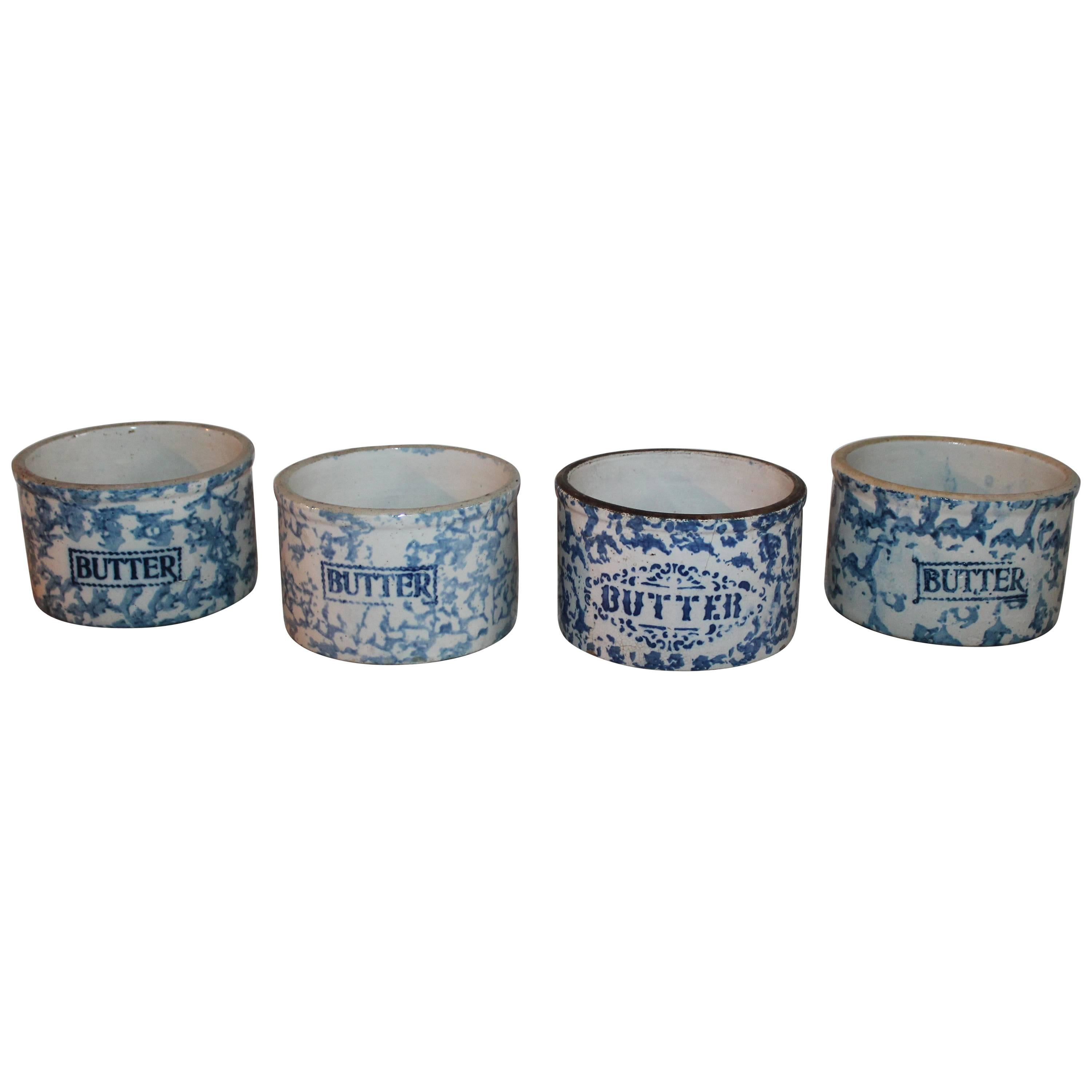 19th Century Sponge Ware Butter Crocks / Collection of Four