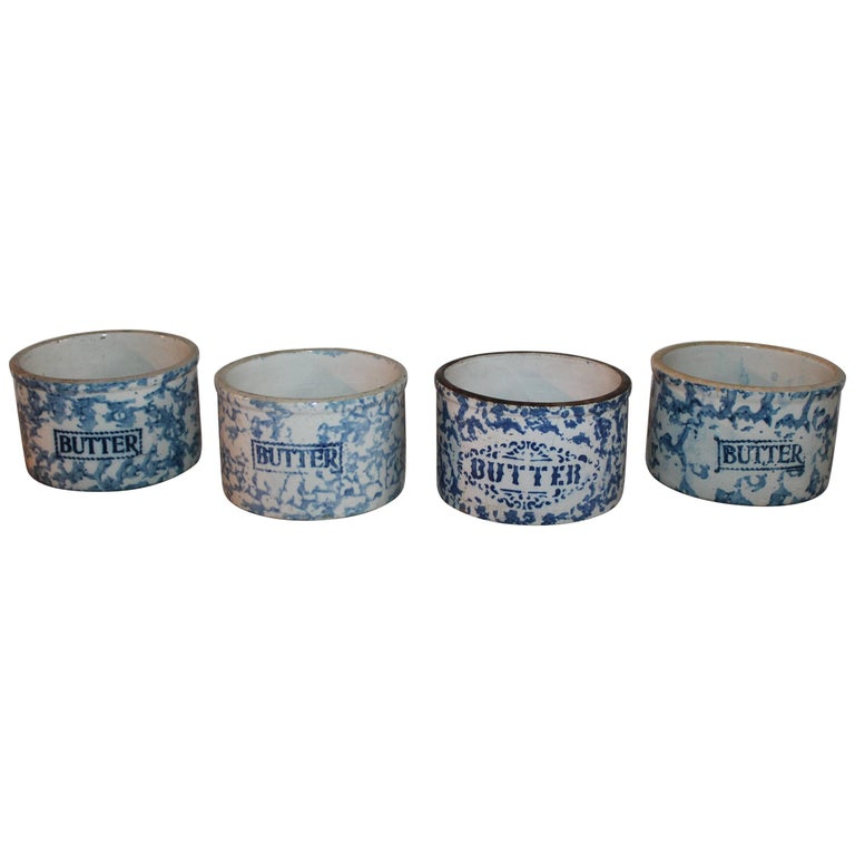 19th Century Sponge Ware Butter Crocks / Collection of Four For Sale