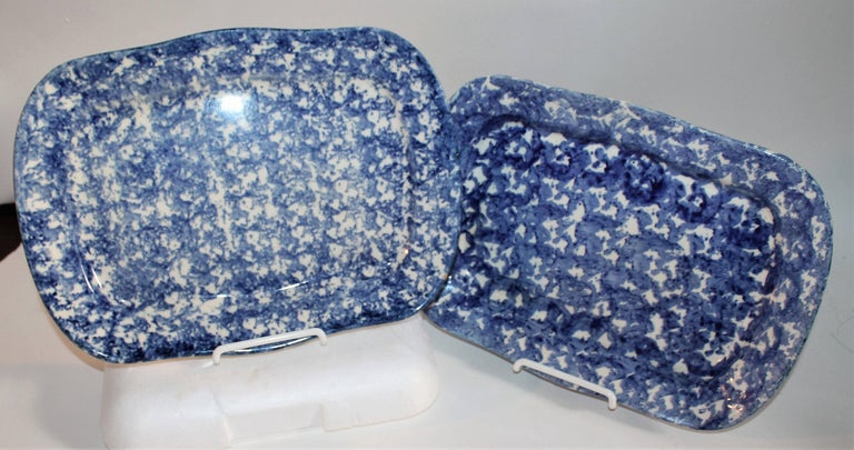 Country 19th Century Sponge Ware Patterned Serving Platters For Sale