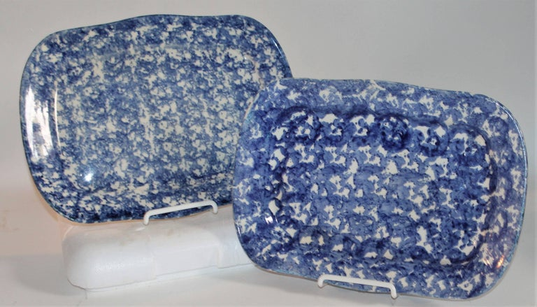 American 19th Century Sponge Ware Patterned Serving Platters For Sale