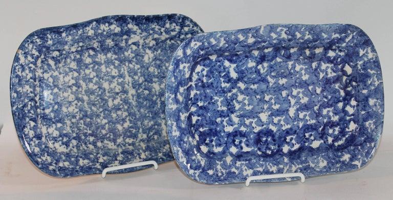 Glazed 19th Century Sponge Ware Patterned Serving Platters For Sale
