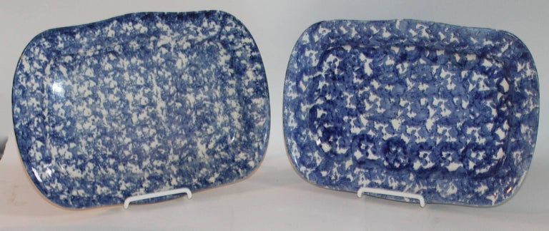 Pottery 19th Century Sponge Ware Patterned Serving Platters For Sale