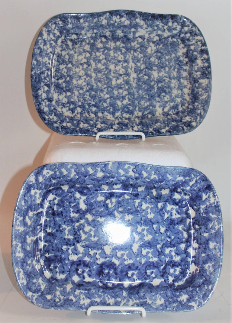 19th Century Sponge Ware Patterned Serving Platters For Sale 1