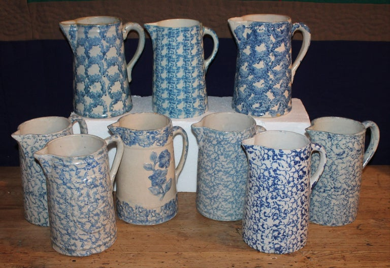 Country 19th Century Sponge Ware Pitchers, Nine Pcs. Collection For Sale