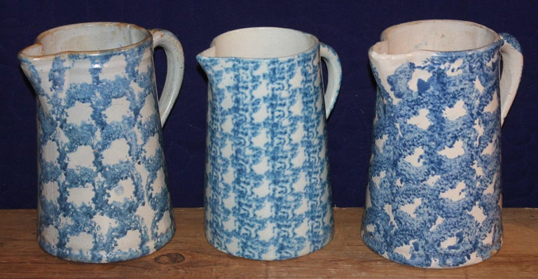 American 19th Century Sponge Ware Pitchers, Nine Pcs. Collection For Sale