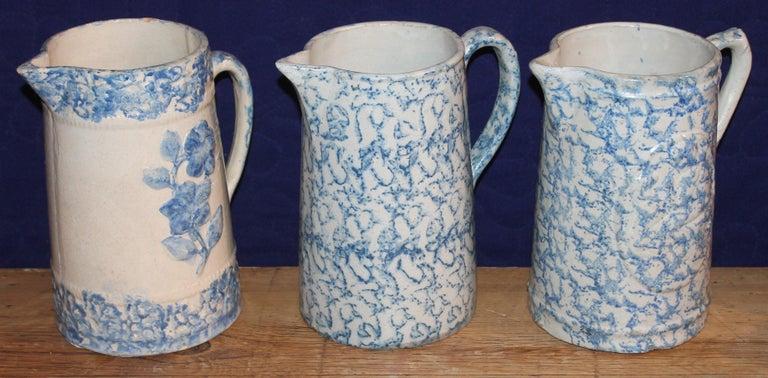 Glazed 19th Century Sponge Ware Pitchers, Nine Pcs. Collection For Sale