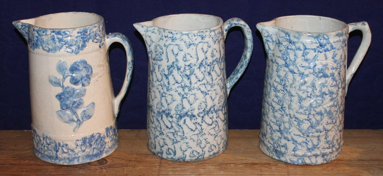 19th Century Sponge Ware Pitchers, Nine Pcs. Collection In Good Condition For Sale In Los Angeles, CA