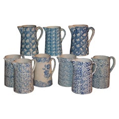 19th Century Sponge Ware Pitchers, Nine Pcs. Collection