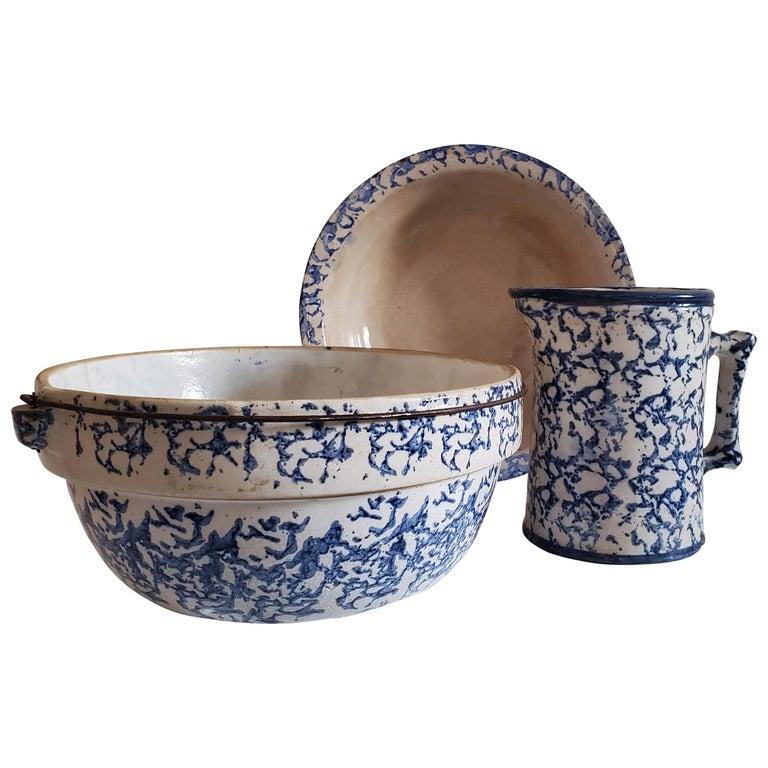 19th Century Sponge Ware Pottery, 3 Pieces For Sale