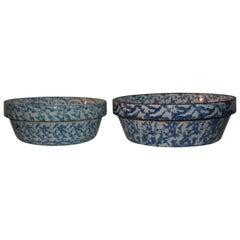 19th Century Sponge Ware Pottery Bake Dishes