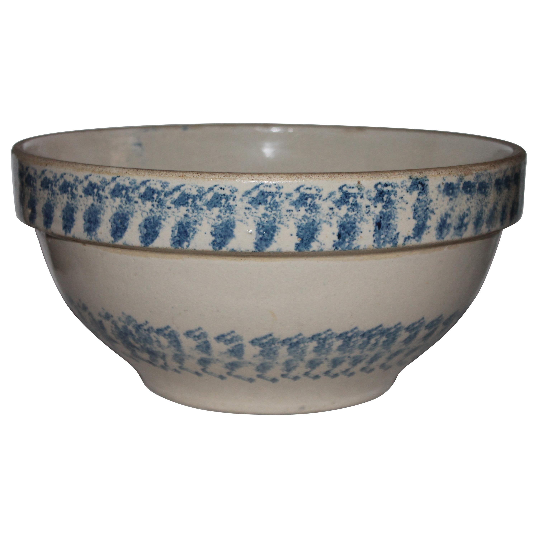 19th Century Sponge Ware Pottery Batter Bowl