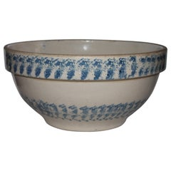 19th Century Sponge Ware Pottery Batter Bowl