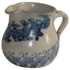 19th Century Sponge Ware Pottery Cream Pitcher