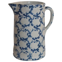 19th Century Sponge Ware Pottery Pitcher