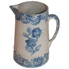 19th Century Spongeware Embossed Floral Pitcher