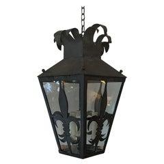 19th Century Square Iron Fleur de Lis Three-Light Lantern