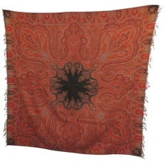 19th Century Square Kashmir Paisley Shawl Tapestry