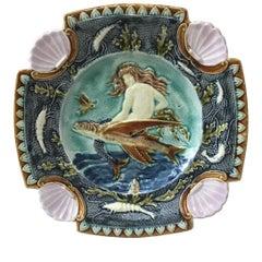 19th Century Square Majolica Mermaid Wall Plate
