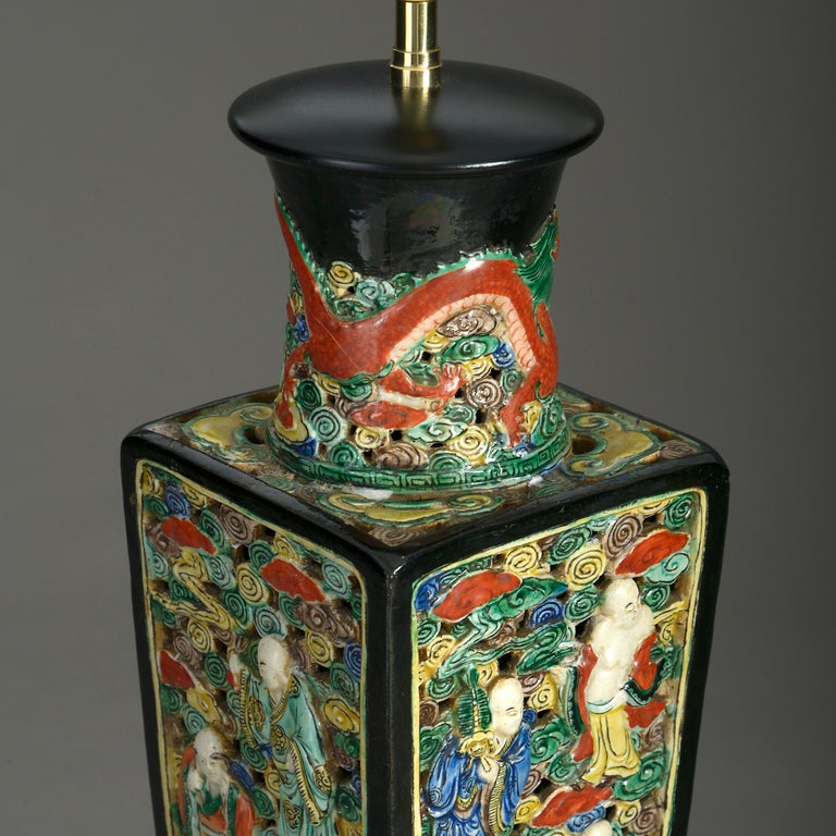 Chinese Export 19th Century Square Porcelain Vase Lamp For Sale