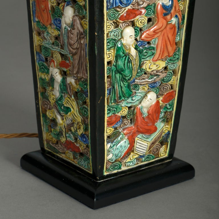 Fired 19th Century Square Porcelain Vase Lamp For Sale