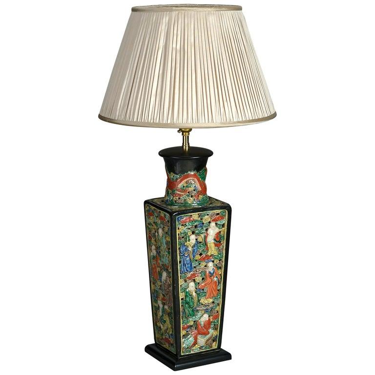 19th Century Square Porcelain Vase Lamp For Sale