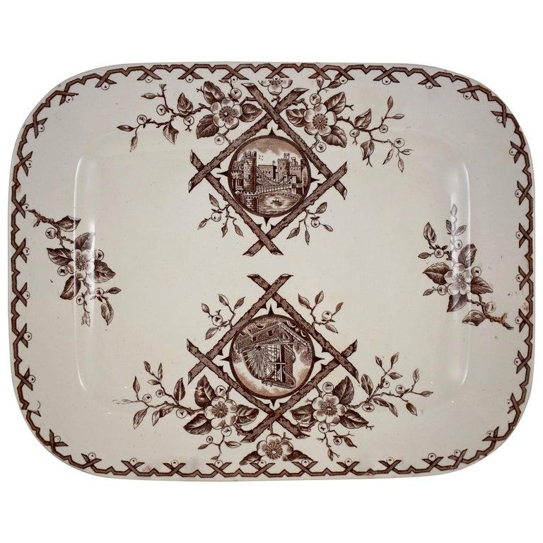 19th Century Staffordshire Aesthetic Movement Transferware Platter, 'Alaska' For Sale