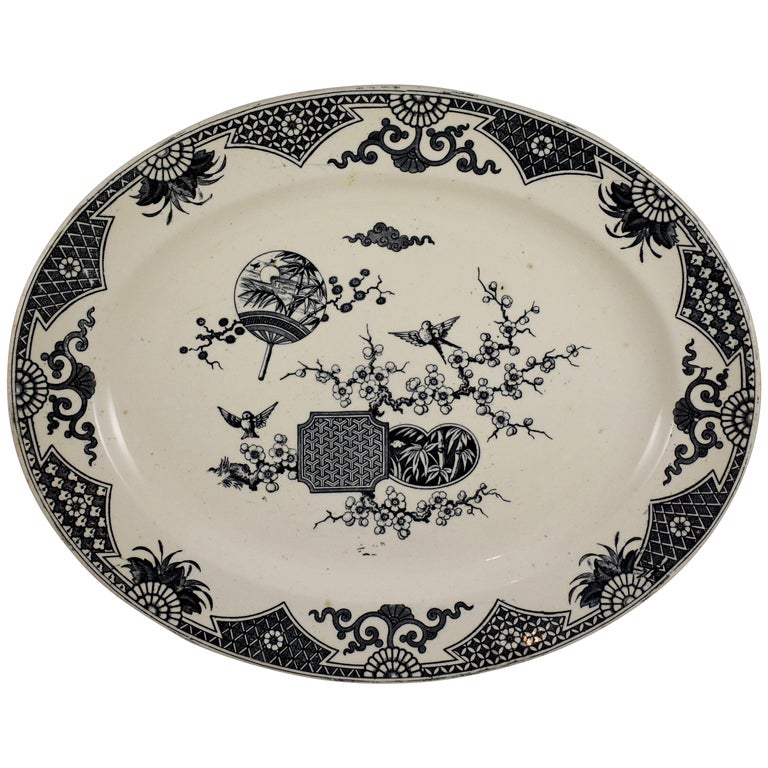 19th Century Staffordshire Aesthetic Movement Transferware Platter, 'Formosa' For Sale