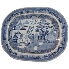 19th Century Staffordshire Blue Willow Serving Platter