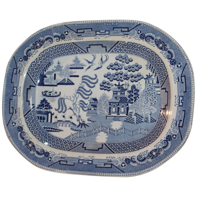 19th Century Staffordshire Blue Willow Serving Platter For Sale