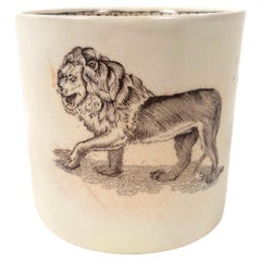 19th Century Staffordshire Child's Mug Decorated with a Striding Lion