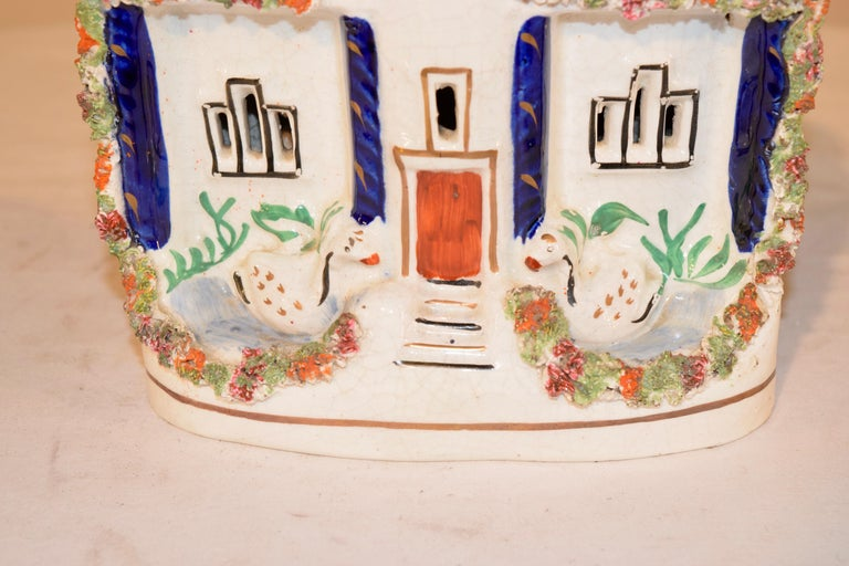 Victorian 19th Century Staffordshire Cottage with Swans For Sale