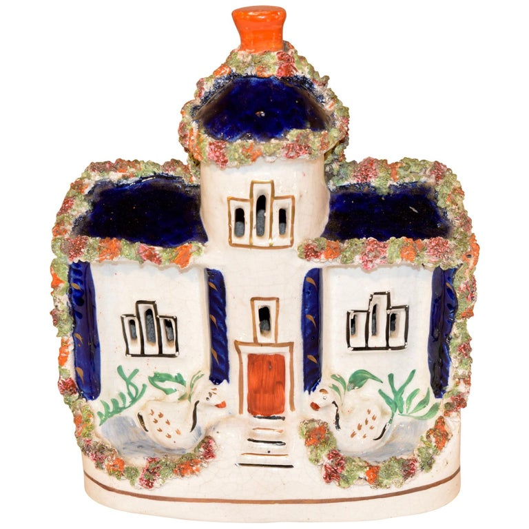 19th Century Staffordshire Cottage with Swans For Sale