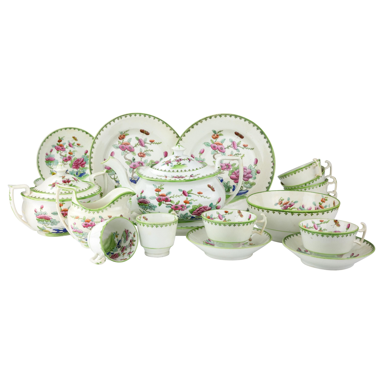19th Century Staffordshire Porcelain Chinoiserie Tea Set