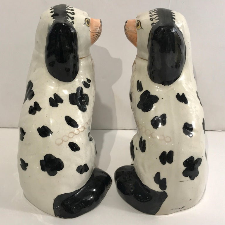 19th Century Staffordshire Seated Disraeli Black and White Spaniel Dogs For Sale 4
