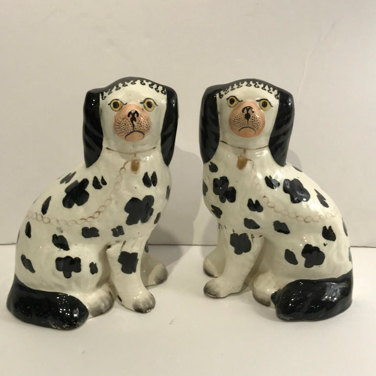 19th century Staffordshire seated Disraeli black and white spaniel dogs with the separate front legs, wonderful decoration, and all over painted black spots.