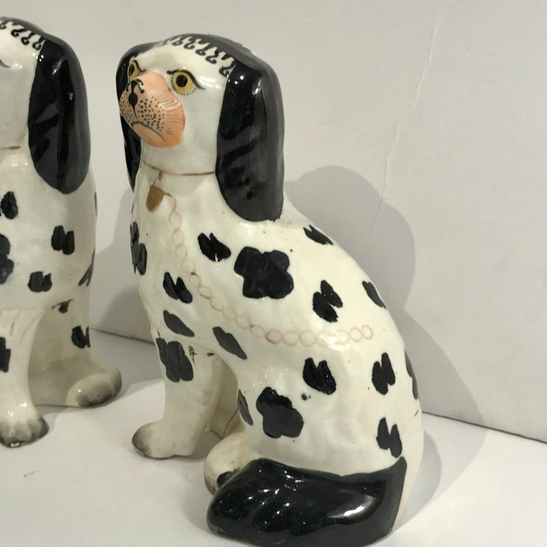 Hand-Painted 19th Century Staffordshire Seated Disraeli Black and White Spaniel Dogs For Sale