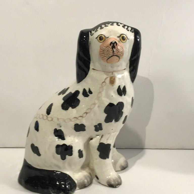 19th Century Staffordshire Seated Disraeli Black and White Spaniel Dogs For Sale 1