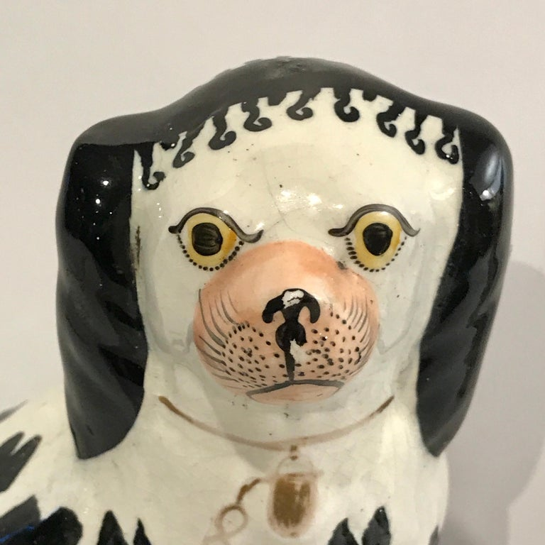 19th Century Staffordshire Seated Disraeli Black and White Spaniel Dogs For Sale 2