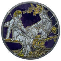 19th Century Stained Glass and Lead Greek God and Goddess Circular Window